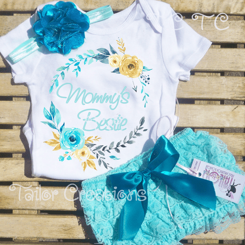 Aqua and Teal Floral Wreath  Petti Lace Bloomers Set