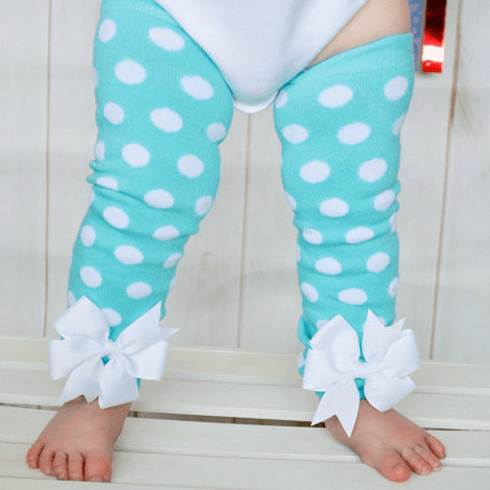 Aqua and white Polka dot Leg Warmers