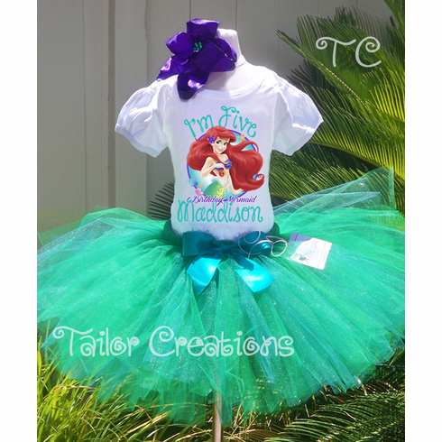 Ariel Little Mermaid Personalized Birthday tutu dress Set