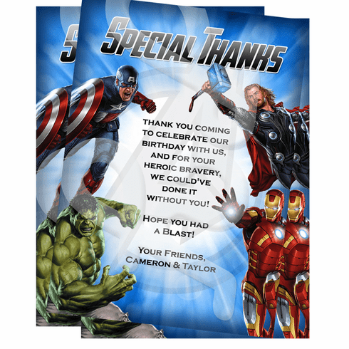 Avengers personalized thank you cards