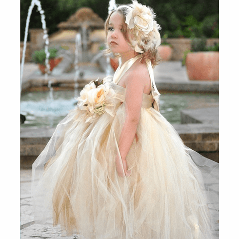 Beige and Ivory Feather tutu Dress