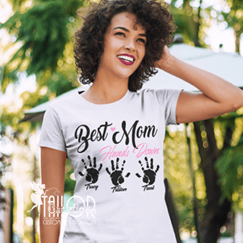 Best Mom Hands Down Personalized T shirt