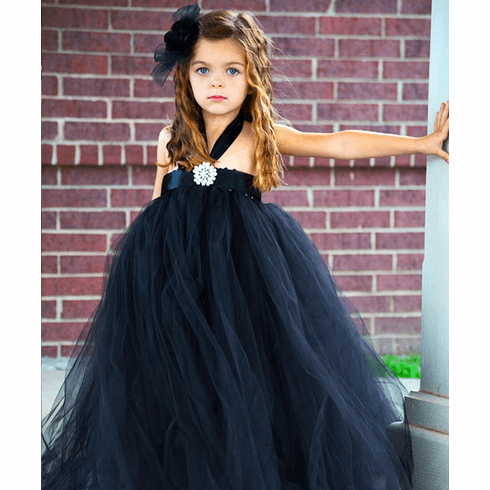 Black Satin Tutu Dress