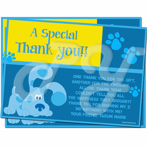 Blue's Clues Personalized Thank you Cards