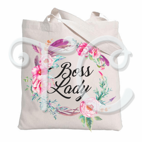 Boss Lady Floral Watercolor Wreath Personalized Tote Bag