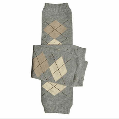 Brown and Gray Argyle Leg Warmers
