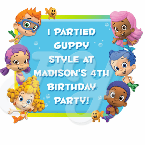 Bubble Guppies personalized party favor