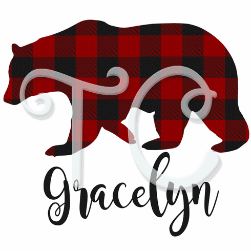Buffalo plaid Christmas red bear t shirt