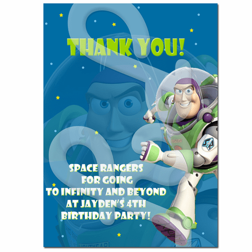 Buzz Lightyear personalized thank you cards