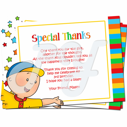 Caillou Personalized Thank you Cards