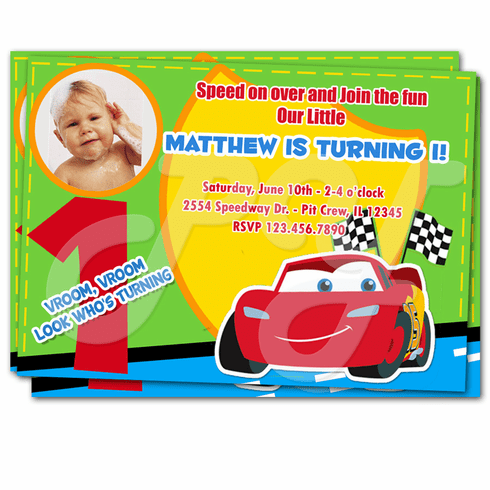 Cars 1st Birthday Personalized Invitations