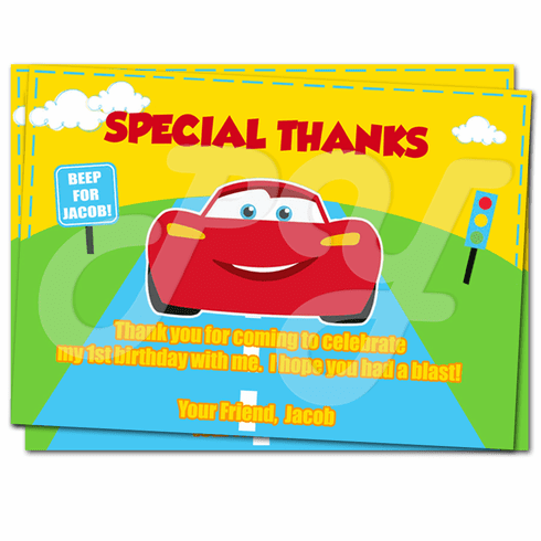 Cars 1st Birthday thank you cards