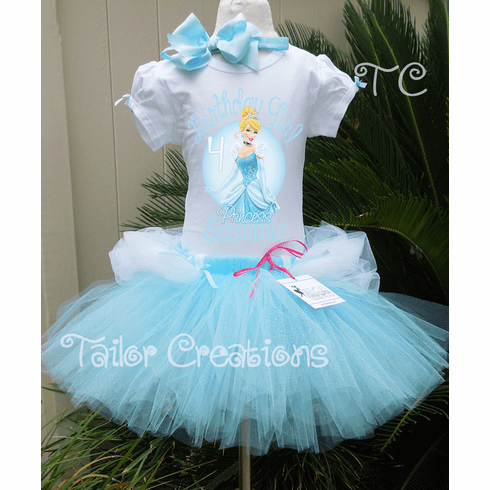 Cinderella Glitter Personalized Birthday Tutu dress set
