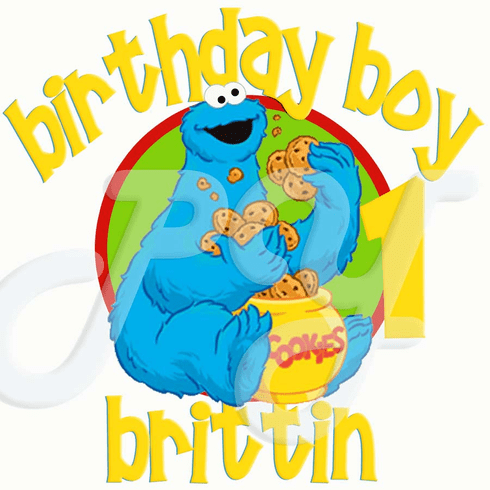 Cookie Monster personalized birthday t shirt