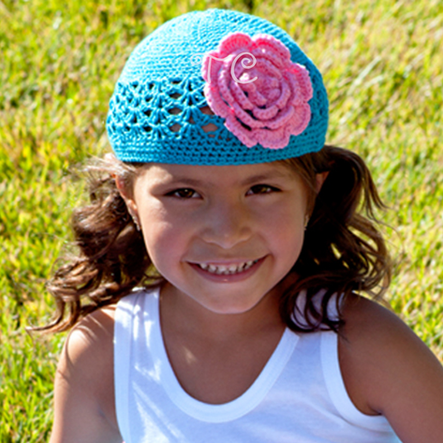 Cotton Candy, Pink and Blue Crochet Brim Peony Hat