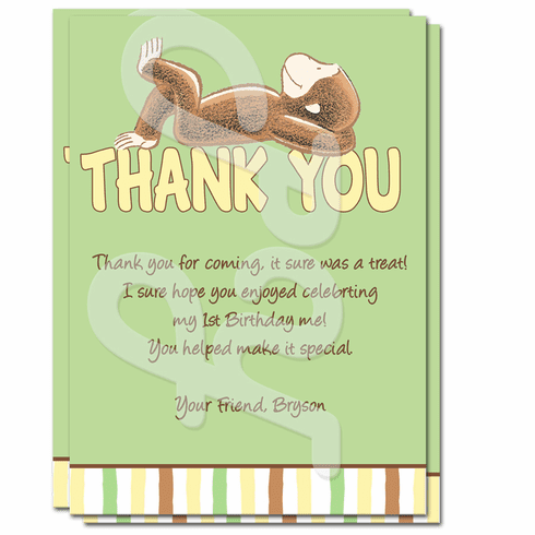 Curious George 1st Birthday Personalized Thank you Cards