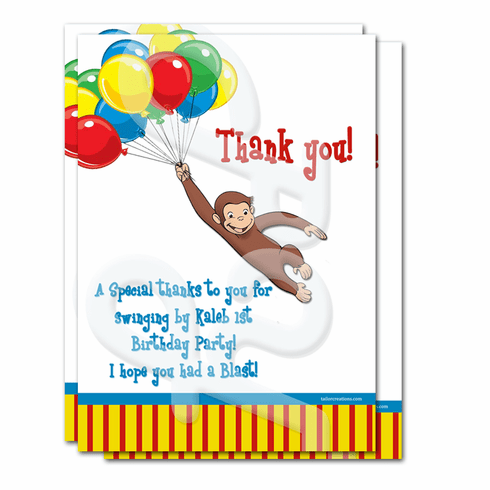 Curious George Personalized Thank you Cards