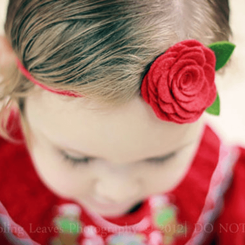 Custom Felt Rose Headband
