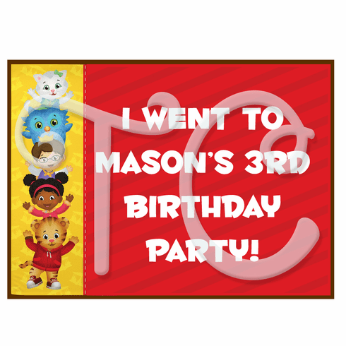 Daniel's Tiger Neighborhood Personalized Party Favor