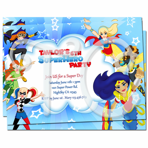 dc superhero girls personalized invitations