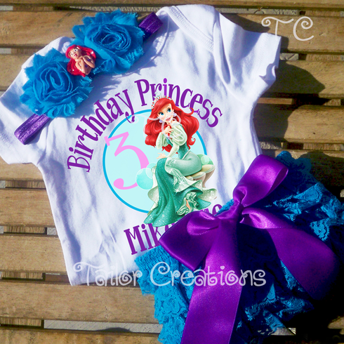 Disney Princess Ariel Personalized Birthday Petti Lace Set