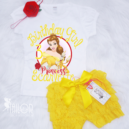 Disney Princess Belle Personalized Petti Lace Set