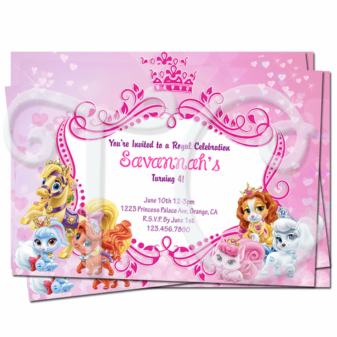 Disney Princess Palace Pets Birthday Invitations