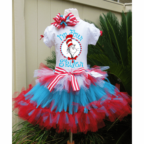 87a9ff82 Dr Seuss Personalized Cat in the Hat Birthday petti tutu set
