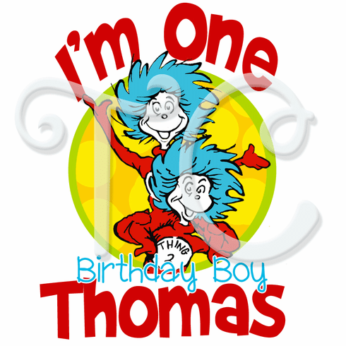 Dr Seuss Thing 1 And 2 Personalized Birthday Shirt