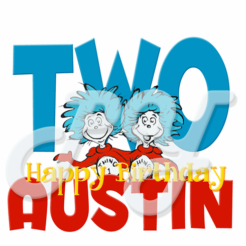 Dr Seuss Thing 1 and Thing 2 personalized birthday t shirt