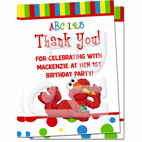 Elmo Sesame st personalized thank you cards