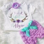 Floral and horns Personalized Petti lace set