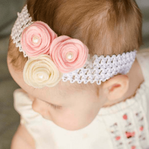 Flower Pearl Felt Crochet Headband