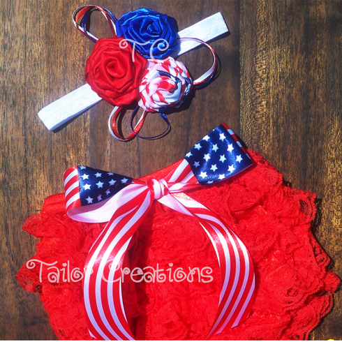 Fourth of July American Petti Lace Bloomer Set