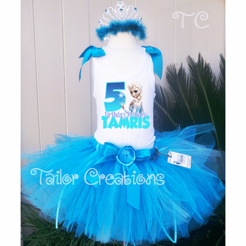 Frozen Elsa Glitter Personalized Tank top tutu Tiara Set