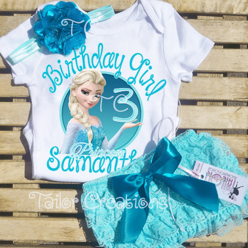 Frozen Elsa Personalized Petti Lace Shorts/Bloomers Set