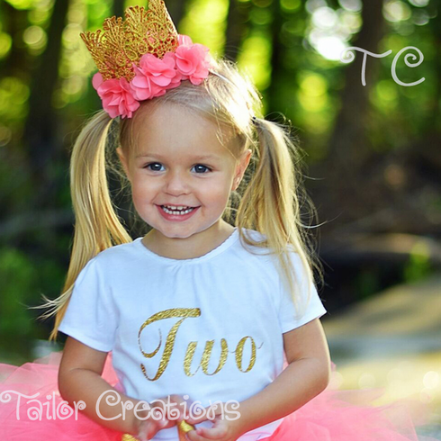 Glitter Gold Personalized Puff Sleeve top