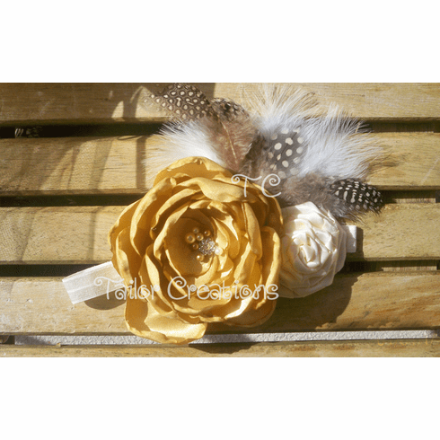Gold and Ivory Vintage Inspired Satin Headband