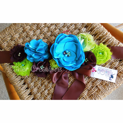 Green,Turquoise and Brown Maternity Belt Sash