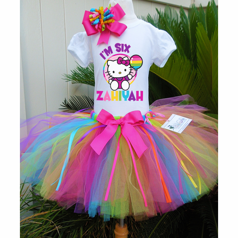 Hello Kitty Personalized Birthday Tutu Set Rainbow