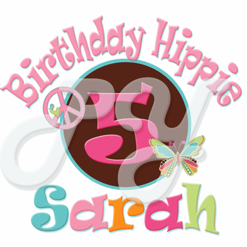 Hippie Chick personalized birthday t shirt