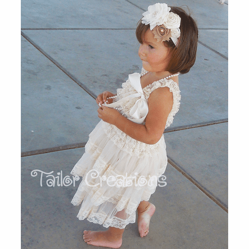 Ivory Chiffon Lace Ruffled Petti Dress
