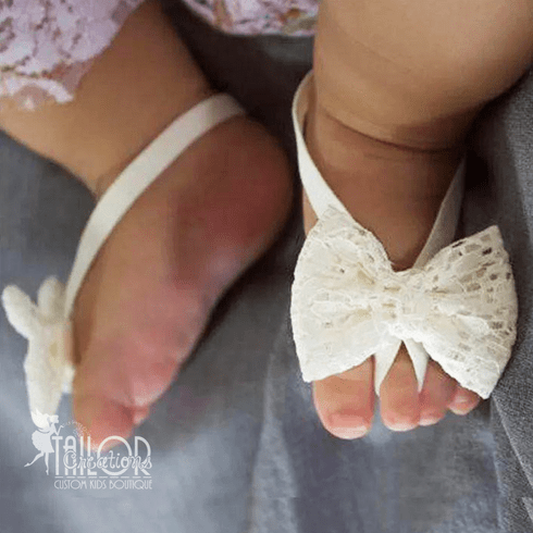 Lace Bow Baby Barefoot Sandals