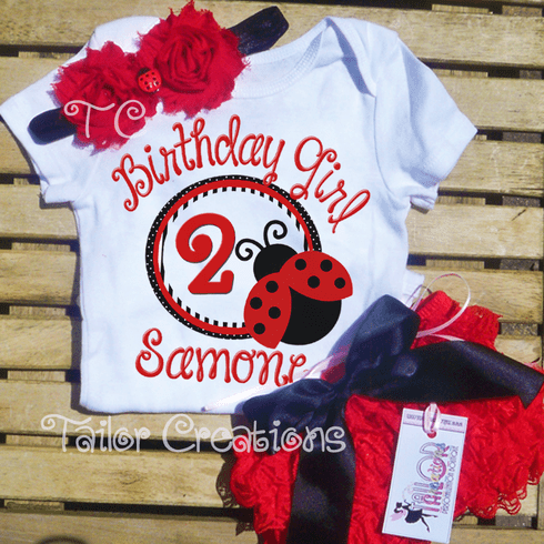 Ladybug Petti Lace Personalized Bloomers/Shorts Set
