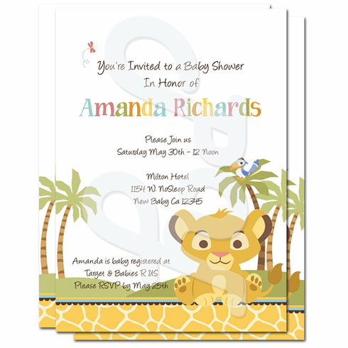 Lion King Baby Shower Personalized Invitations
