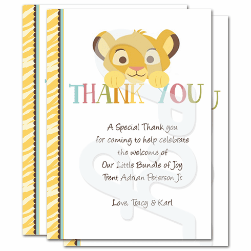 Lion King Baby Shower Personalized Thank you Cards