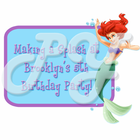 Little Mermaid Ariel Personalized  Party Favor