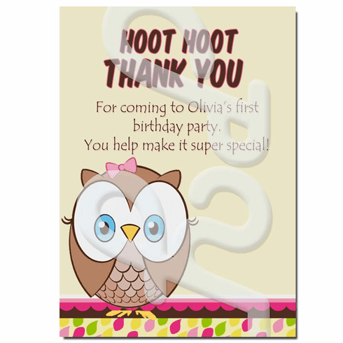 Look Whoo's 1 personalized thank you cards