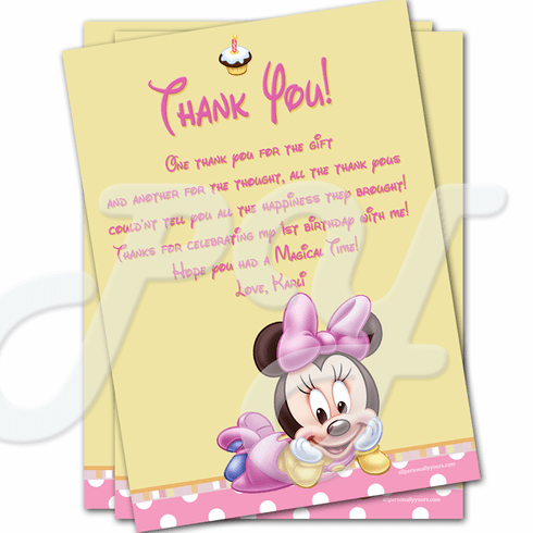 Minnie Mouse 1st Birthday Personalized Thank You Cards