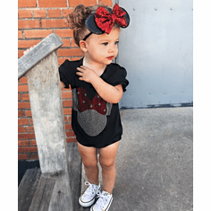 Minnie Mouse Rhinestone Romper Set